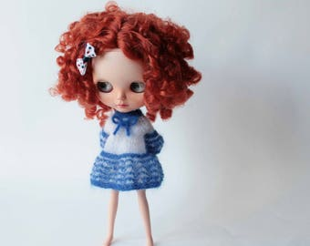 Blythe dress, Sea style dress for Blythe doll, White blue stripes outfit for doll, Mohair clothes for Blythe doll, Handknitted doll clothes