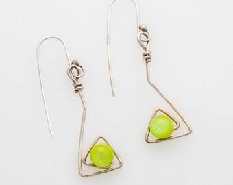 Lime Green & Silver Wire Earrings