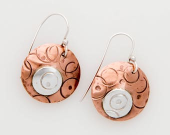 Copper and Silver Wire Earrings