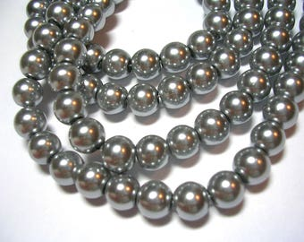 Smokey Silver Gray Pearls 8mm Glass Pearl Rounds Celestial Glass Pearls Very Shimmery Pearl Rounds Pewter 8mm Pearl Rounds 50 Pearl Rounds