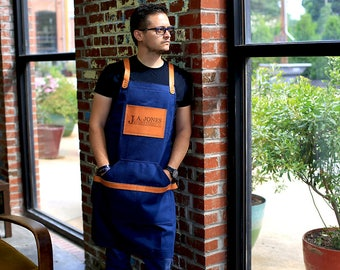 Blue Non Waxed Canvas Apron, Leather and Canvas Apron, Custom Men's Apron with Engraving