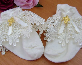 Ivory Christening/Wedding socks with Gold Cross. 3 sizes