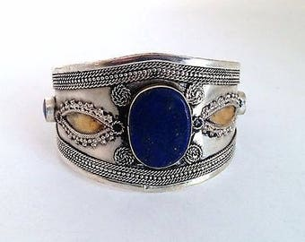 Boho Chic Cuff Bracelet Lapis Center Tribal Style Belly Dance ATS Jewelry