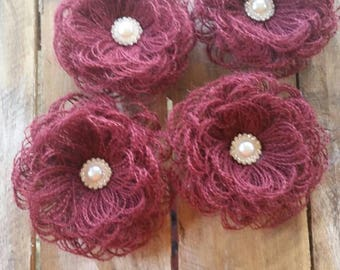 Burlap Flower, Wedding Decoration, Country Wedding, Cake Decoration, Rustic Flower, Burgundy Flower