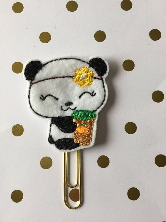 Panda With Pumpkin Coffee planner Clip/Planner Clip/Bookmark. Planner Clip. Panda planner clip. Pumpkin coffee planner clip. coffee planner