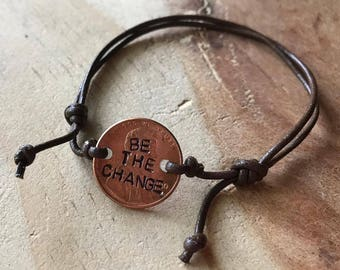 Penny bracelet custom leather bracelet coin bracelet penny adjustable bracelet graduation couples bracelet saying bracelet word bracelet