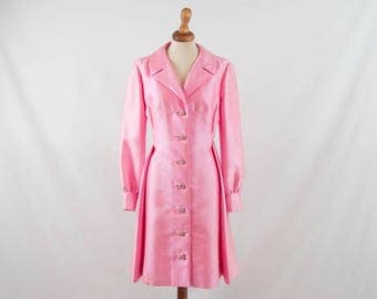 50s vintage dress, robe manteau, pink, light coat, spring summer, ceremony, cocktail, fifties coat, rockabilly, montaldos, free shipping