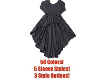 Solid High Low Top, Solid High Low Dress (Baby High Low top, Baby High Low Dress, Toddler High Low Top,Toddler High Low Dress,Kids High Low)