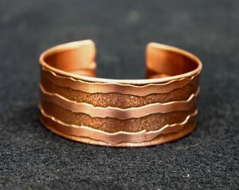 Rustic Cuff Bracelet, Etched Copper Cuff Bracelet, Men's Bracelet, Women's Bracelet, Minimalist Copper Cuff Bracelet