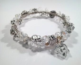 Guitar String Bracelet Jewellery Skulls & Roses Handmade - Clear