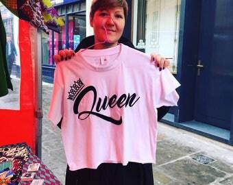 Adult White Queen Crop T-Shirt