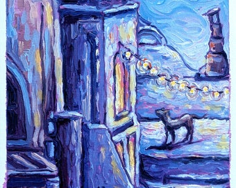 Original painting - Night lights and the dog- Oil on canvas, 24cm x 41cm
