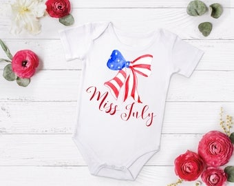 Miss July, 4th of July Shirt, Miss July Outfit, 4th of July Set, Girls Clothing, 4th of July Shirt, 4th of July Skirt, 4th of July
