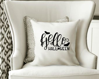Hello Halloween Pillow Cover, Halloween Decorations, Throw Pillow, Halloween Decor, Halloween Pillow, Witch Pillow, Halloween Home Decor