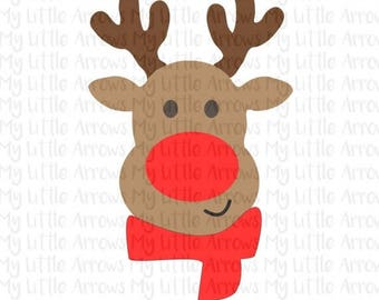 SALE- Reindeer with scarf SVG, DXF, Eps, png Files for Cutting Machines Cameo or Cricut - cute reindeer svg - reindeer boy svg - christmas b