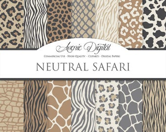 Vector Animal Prints Digital Paper Backgrounds, Wild Animal Skin seamless patterns Safari textures Neutral leopard print zebra giraffe tiger