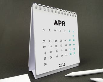 WHITE OUT 2018-2019 Financial Year Desk Calendar