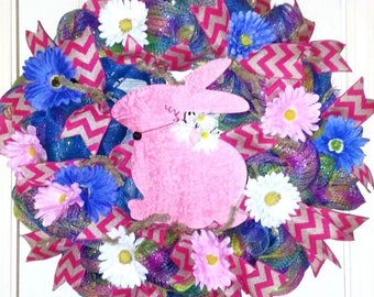 Easter wreath, Spring wreath, Easter door hanger, Spring door hanger, Pink Easter wreath, Wreath with Easter Bunny, Easter bunny wreath