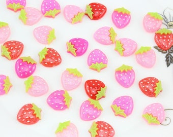 6 x Strawberry color mix size cabochon: 15x18mm
