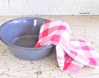 Gray Enamelware Bowl, Bluish Gray Little Bowl, Vintage Enamelware