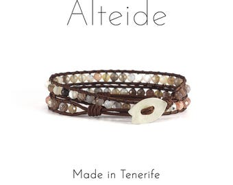 Bracelet Playa del duque 2 waves - Alteide - made in Tenerife - surf inspired - 925 Silver - man woman - Botswana Agate
