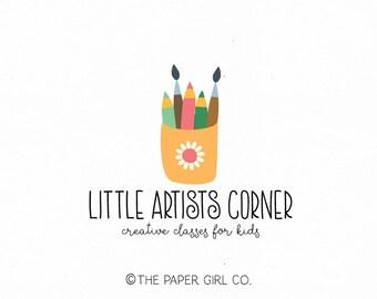 art logo design kids art classes logo art teacher logo paint brush logo pencil crayons logo artists logo premade logo design art school logo
