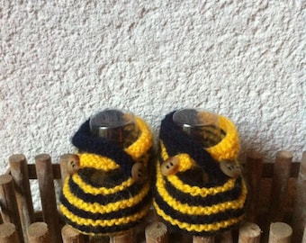 Baby booties: Ballet flats flanged two-tone knit handmade from 0 to 9 months