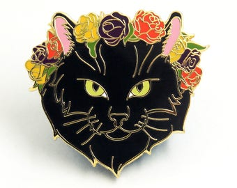 Black Cat Enamel Pin - Floral Crown Jewelry - Cat Lover Gift
