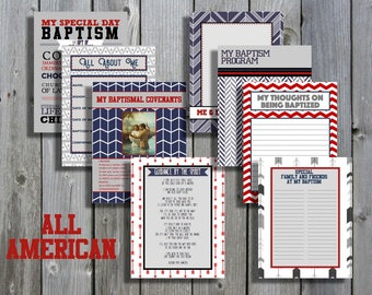 All American Boy LDS Baptism Printable Memory Book - Instant Download