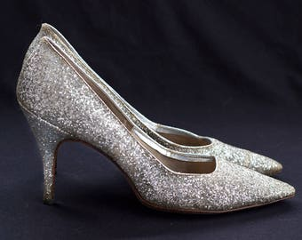 50s or 60s silver glitter stiletto heels