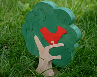 Wooden puzzle GREEN Tree, Handmade Eco Friendly Toy, For Toddlers, Logic toys, Wooden toy, Natural, Organic and Safe toy