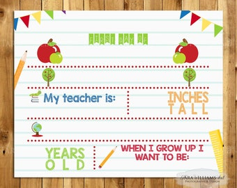 SALE - First Day of School Sign -  Printable - Blank - Back To School - Kindergarten - Primary Colors - You Print