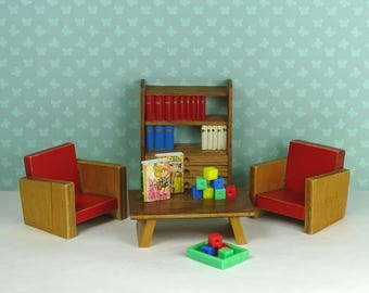 Doll house vintage Lundby kids room 1940s 1960s 1970s red furniture toys