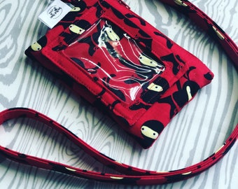 Red with Black Ninjas ID Wallet Lanyard Badge Holder Cash and Coin Purse