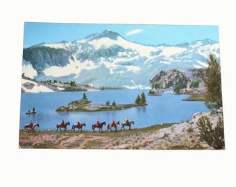 Union 76 Oil Company, Vintage Postcard, Scenes of the West, Glacier Lake Postcard, 1940s