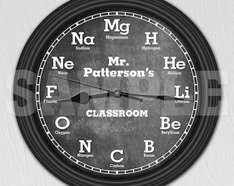 Chemistry Science Chalkboard Personalized Decorative Wall Clock - Teacher Gift ITEM#081