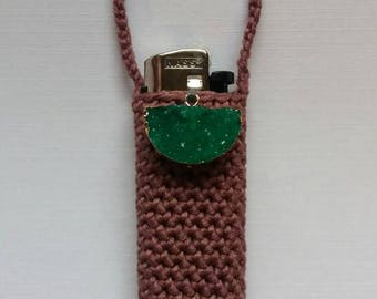 Emerald druzy, handmade crochet lightercozy.