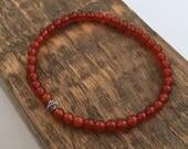 Carnelian bracelet, Mens bracelet, unisex bracelet, red bracelet, gemstone bracelet, small bead bracelet, boyfriend gift, girlfriend gift