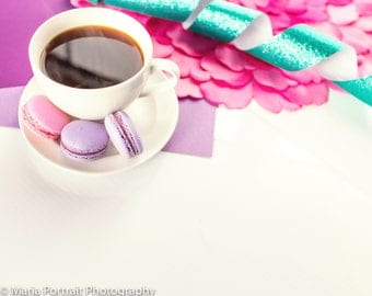 Coffee and macaron styled stock photography