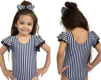 BLACK & WHITE STRIPES flutter sleeves Leotard  unique gymnastic Leotard for girls, toddler size, come with matching hair bow