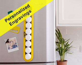 Personalized Engraving Yellow Keurig Coffee Pod Storage, Custom Name Gift, K-Cup Holder, Magnetic Wall Storage, Home Gift, Plexiglas Decor
