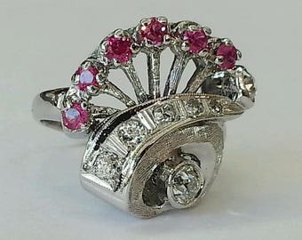 Vintage 14k white gold 1.12Ct natural old cut diamond & ruby cluster ring