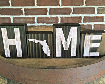 Florida Home Blocks | Rustic Wooden Letter Blocks | Wooden Home Decor |  Housewarming Gift |
