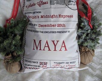 Personalized Santa Sack, Christmas Sacks, Christmas Santa Sack, Santa Bag, Custom Bag, Christmas Sack, Holiday Sack, sack, bag