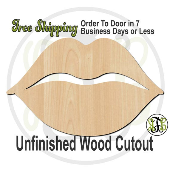 Full Lips - 110045- Valentine Cutout, unfinished, wood cutout, wood craft, laser cut shape, wood cut out, Door Hanger, wooden, wall art
