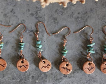 Mountain Earrings Leather Turquoise Copper