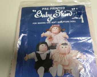 Vintage Raymar pre-printed baby skin for making a soft sculture doll 16-17 inches new in package