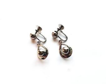 Vintage Silver Teardrop Dangling Screw On Earrings