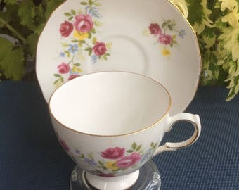 Queen Anne by Ridgway 8456 with Multi Color Flowers Bone China Cup and Saucer - Made in England