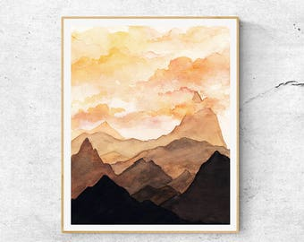 Fine Art Prints, Contemporary Art, Watercolor Mountain Painting, Modern Art, Sunset Wall Art, Sunset Mountains, Abstract  Art, Home Decor